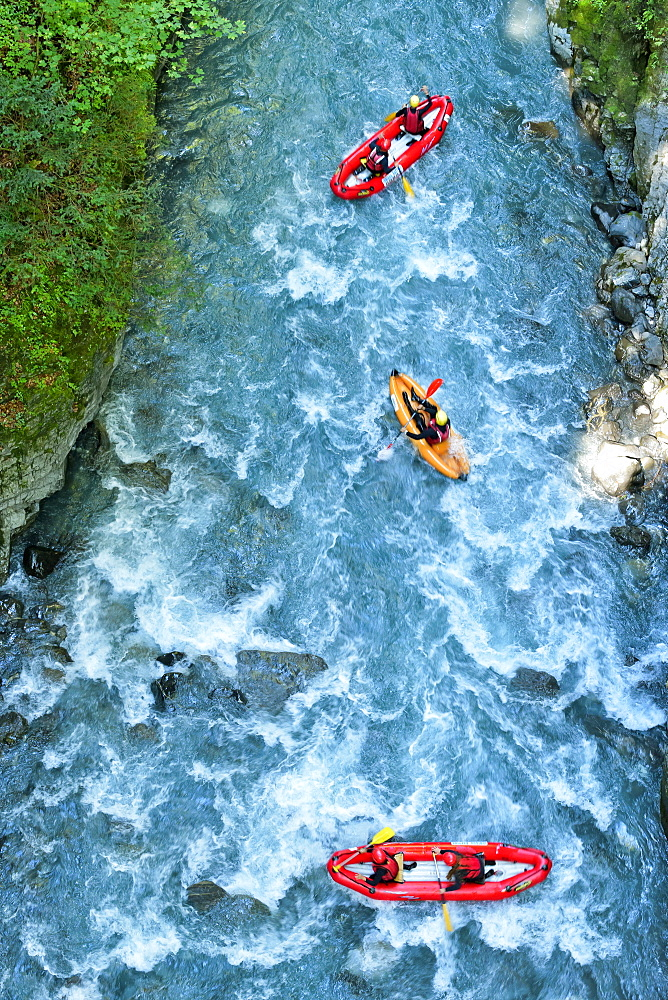 Kayak in the Gorges des Tines , in Sixt Fer ? Cheval, Haute Savoie , Alps, France