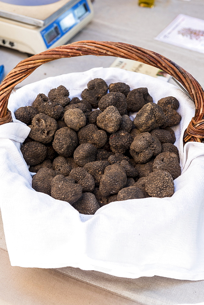 Truffles in a wicker basket at a market, summer, Provence, France