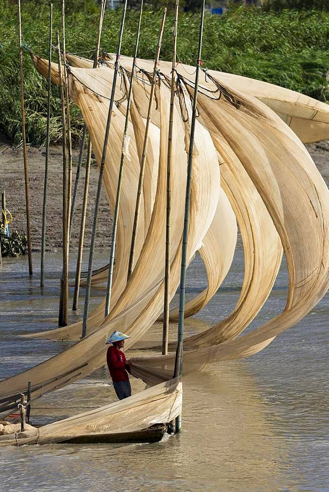 Drying of the sails of boats with the wind, Xiapu County, Fujiang Province, China