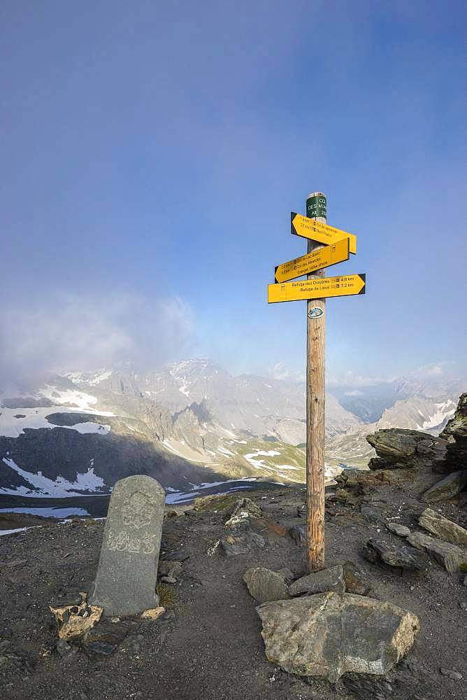 Former boundary marker at Col des Muandes (2828m) on the GR57, Claree Valley, Nevache, Hautes-Alpes, France