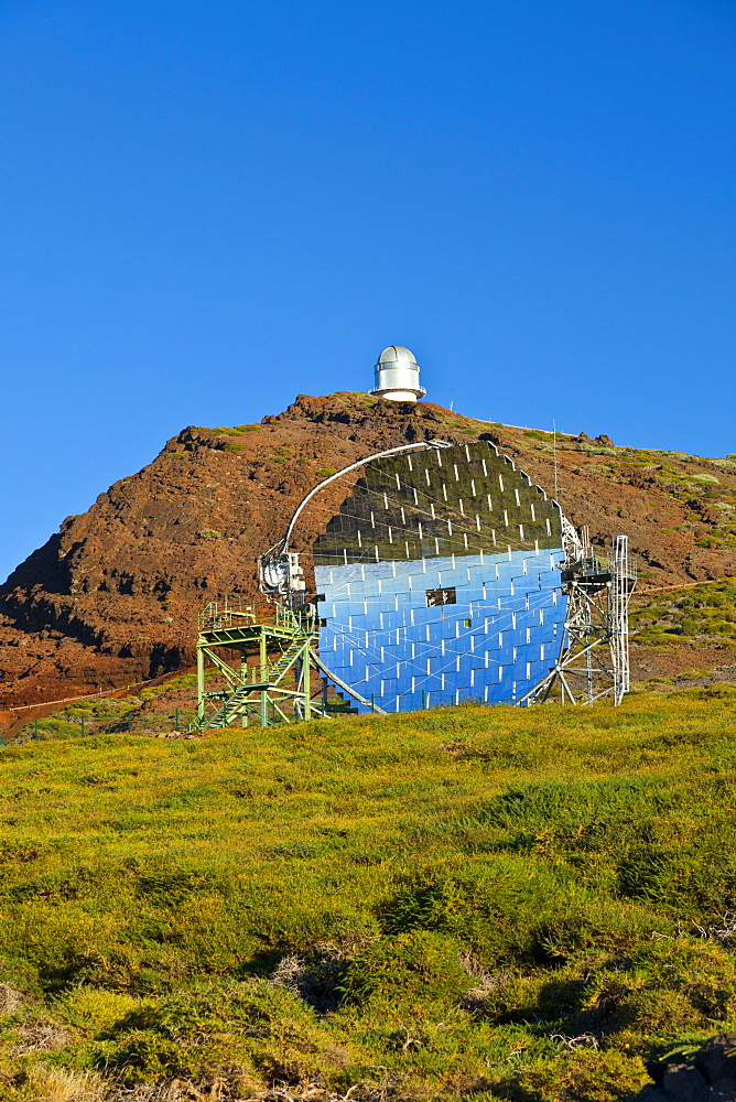 astronomical observatory on mountain Roque de los Muchachos optical mirror in foreground outdoors National Park Caldera Isla La Palma Santa Cruz Province Canary Islands Spain Europe