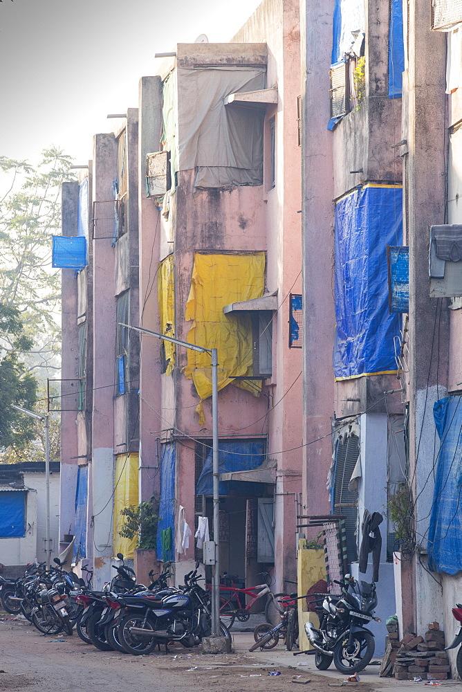Slum housing in Ahmedabad; India;