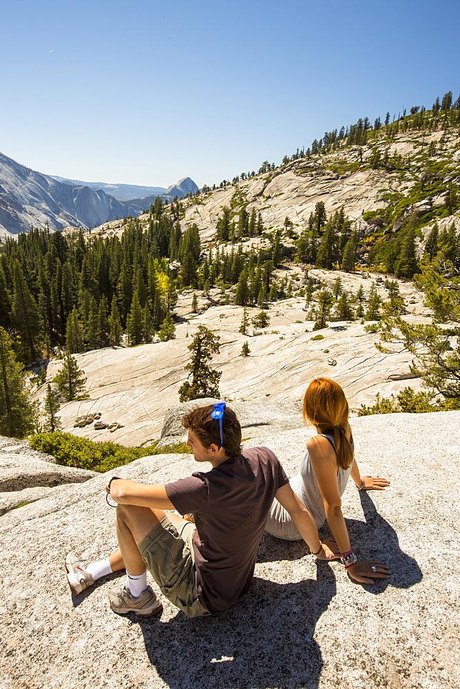 Tourists in Yosemite National Park, California, USA.