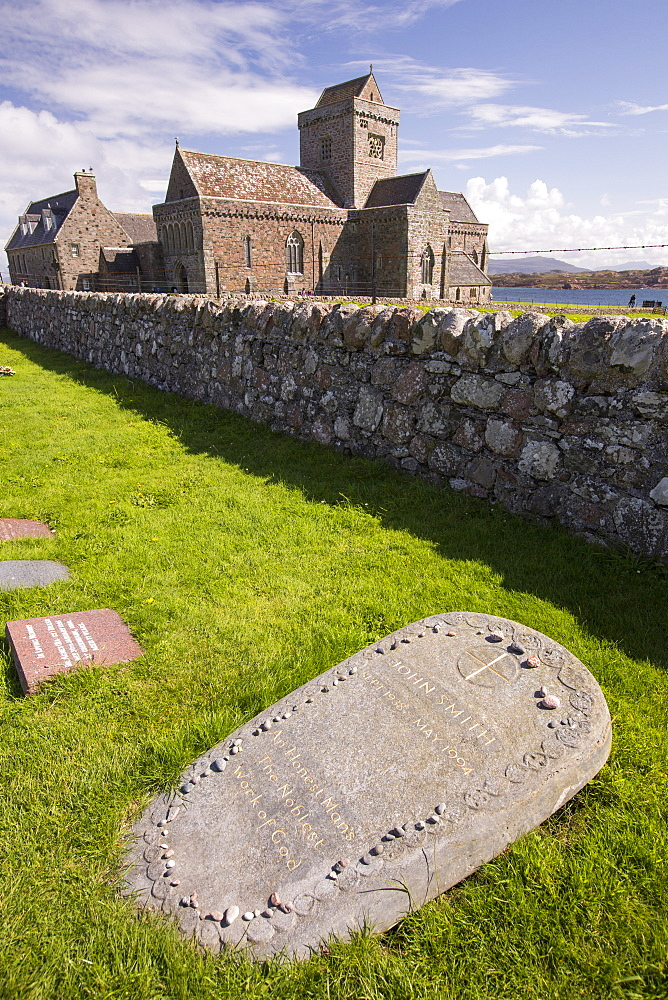 Iona Abbey on Iona, off Mull, Scotland, UK, with the grave of John Smith, the former Labour leader in the foreground.