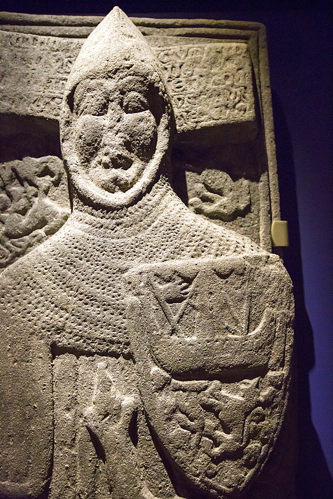 An ancient preserved grave slab in Iona Abbey on Iona, off Mull, Scotland, UK.