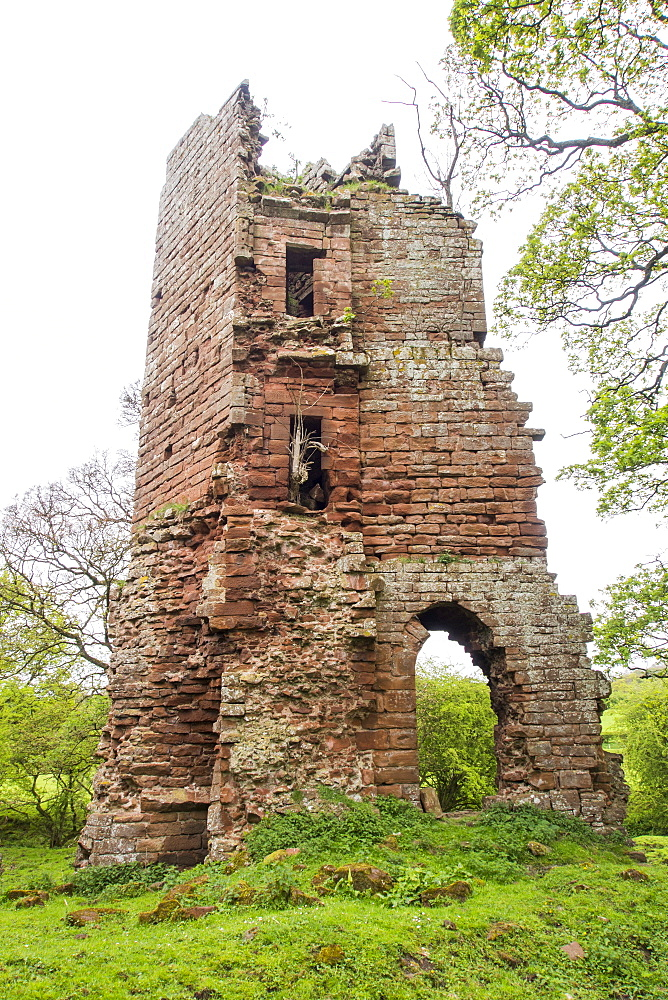 The remains of Kirkoswold Castle in the Eden Valley, Cumbria, UK.