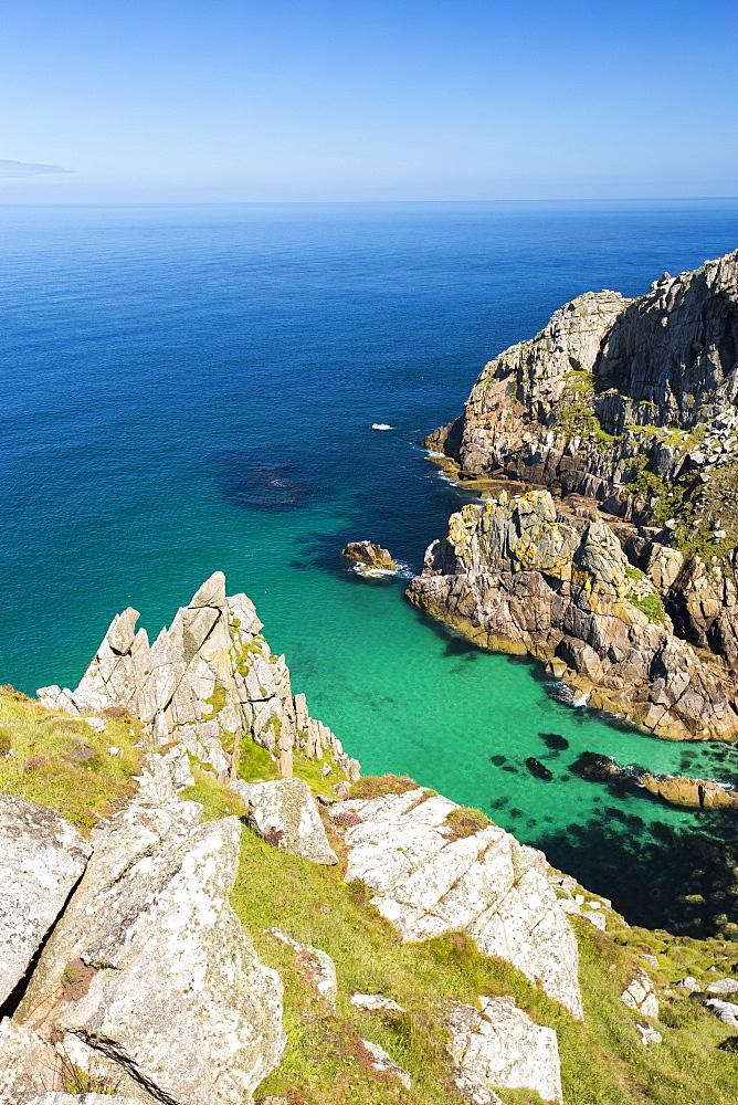 Granite sea cliffs at Bosigran on Cornwall's North Coast, UK.