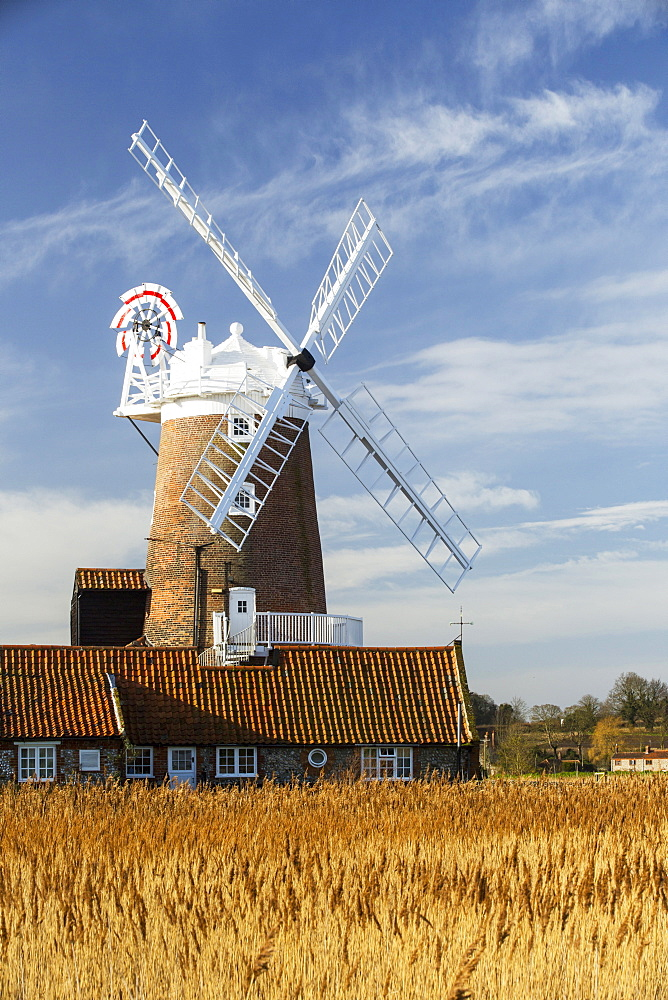 A windmill at Cley Next the Sea, North Norfolk, UK.