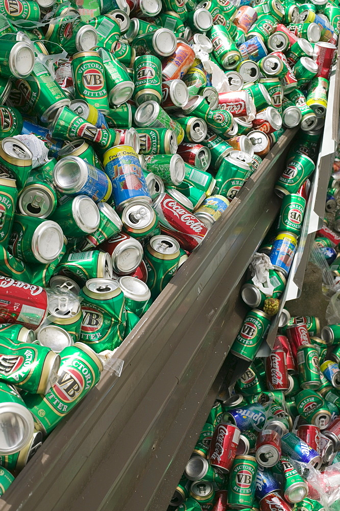 Aluminium drinks cans on Funafuti Atoll, Tuvalu, Pacific