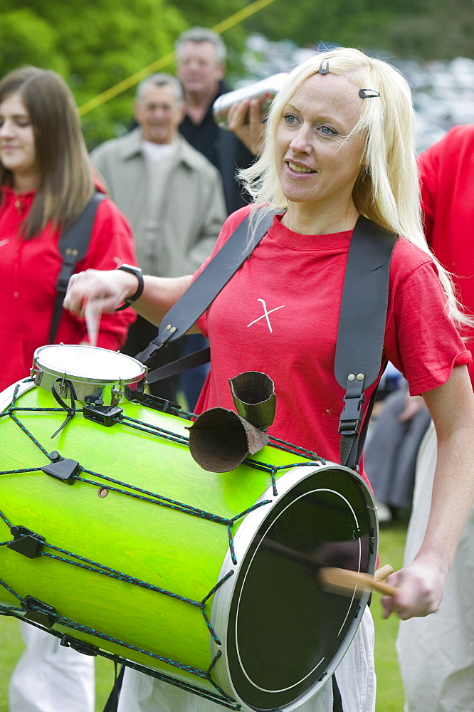 A drumming band, Cumbria, England, United Kingdom, Europe