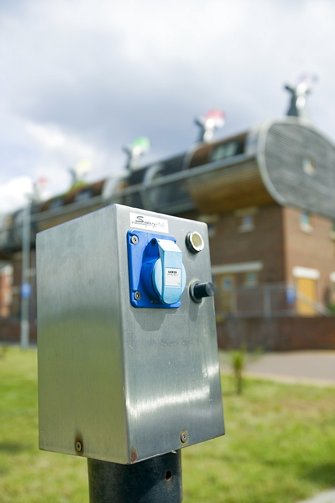 An charging point for electric cars at Bedzed the UK's largest eco carbon neutral housing complex in Beddington, London, England, United Kingdom, Europe