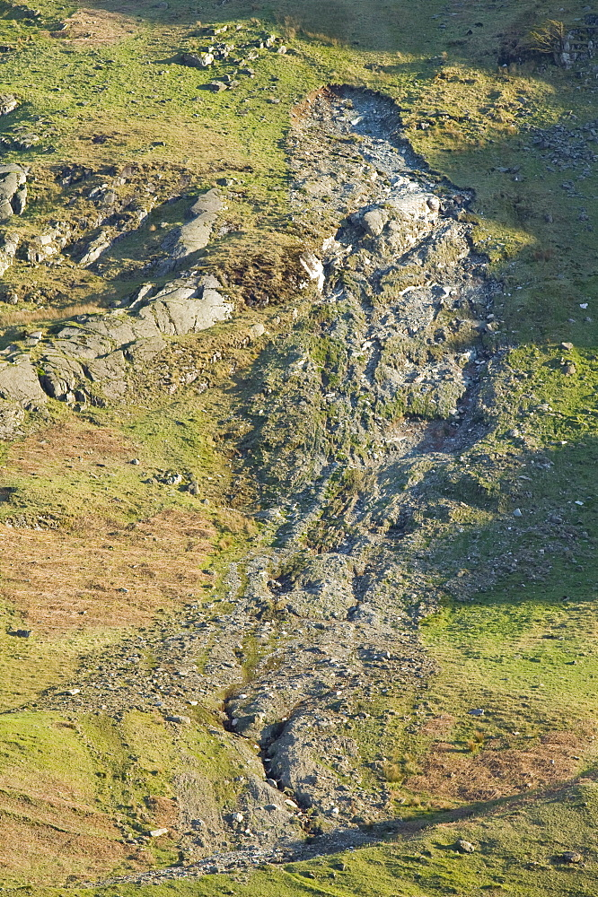 A landslide on the side of Wrynose Pass in the Lake District, Cumbria, England, United Kingdom, Europe