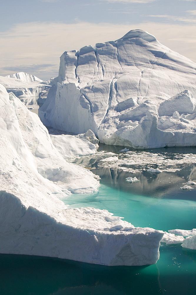 The Jacobshavn Glacier (Sermeq Kujalleq) that drains Greenland's ice sheet Greenland, Polar Regions