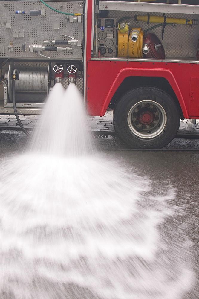 A fire tender in Ambleside, Cumbria, England, United Kingdom, Europe