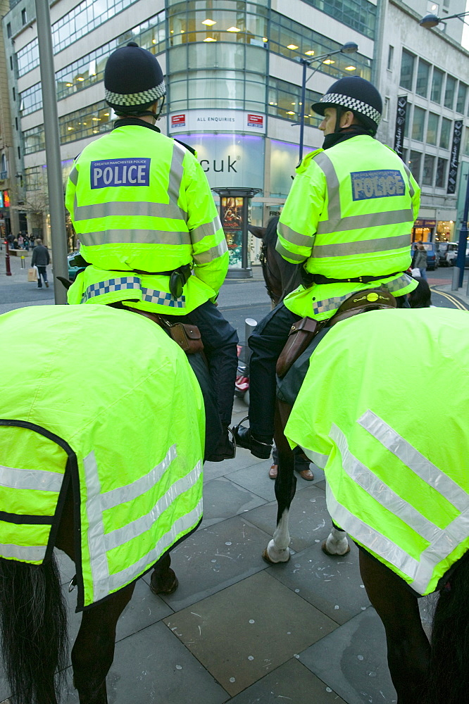 Mounted police in Manchester, England, United Kingdom, Europe