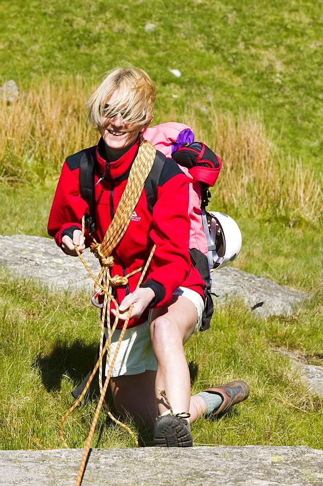 A female climber, Lake District, Cumbria, England, United Kingdom, Europe