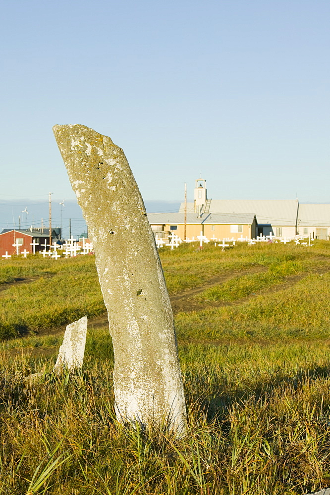 Whale bone marking the shaman's grave on Shishmaref, a tiny island between Alaska and Siberia in the Chukchi sea, home to around 600 Inuits (Eskimos, United States of America, North America