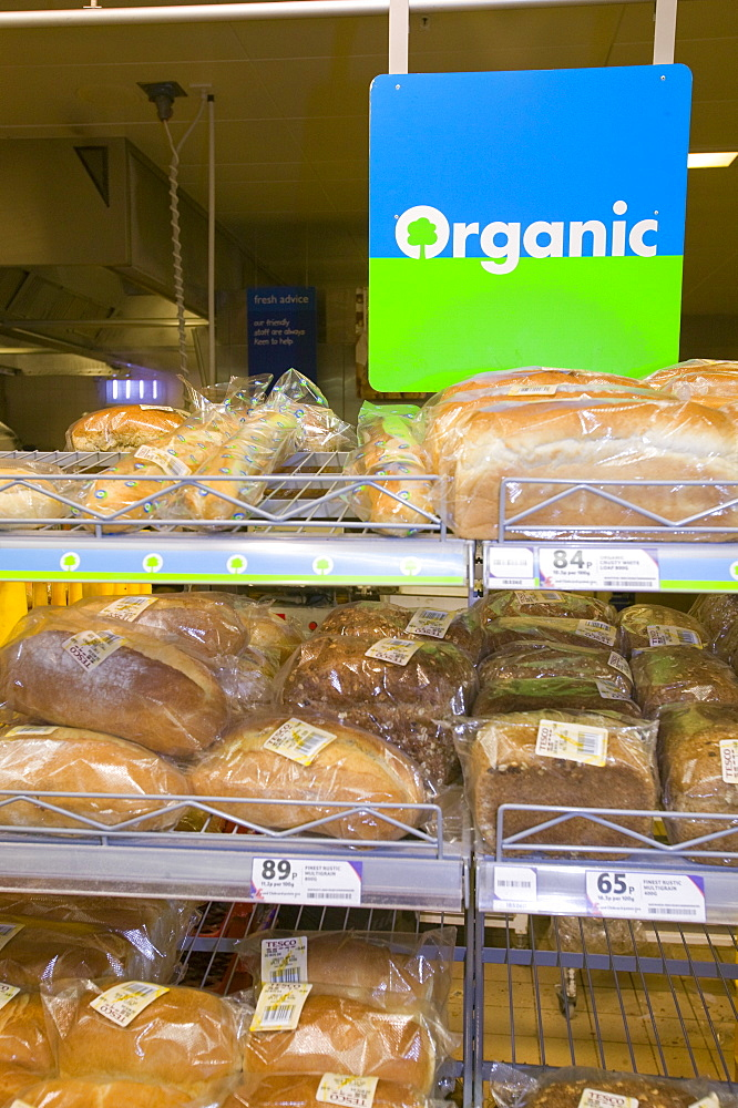 Organic bread in a Tesco supermarket in Carlisle, Cumbria, England, United Kingdom, Europe