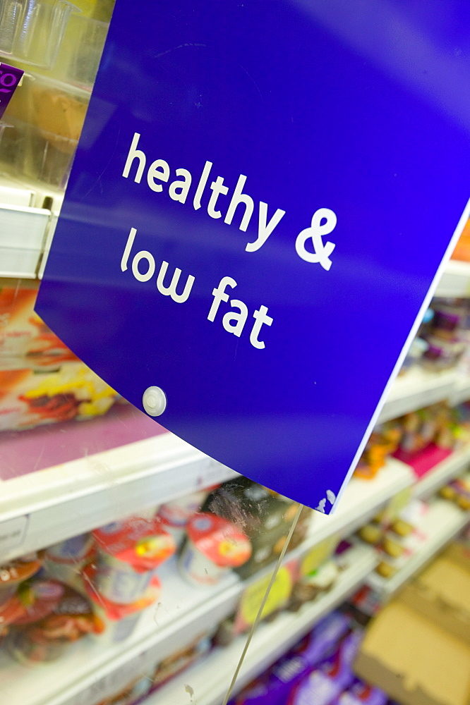 Low fat food in a Tesco supermarket in Carlisle, Cumbria, England, United Kingdom, Europe