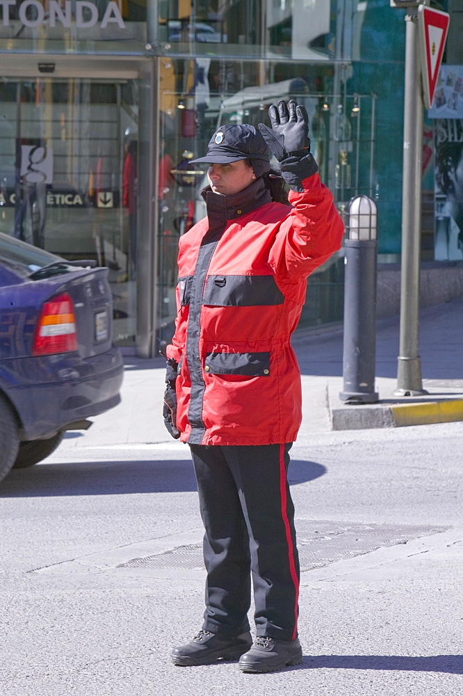A traffic policewoman in the capital of Andorra, Europe