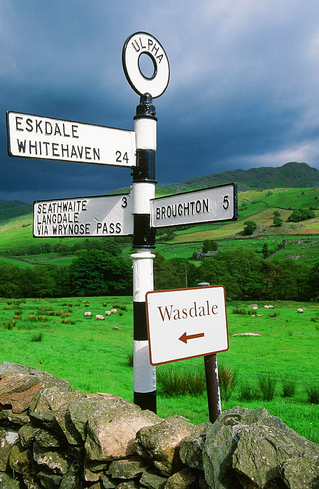 A road sign in the Duddon Valley in the Lake District, Cumbria, England, United Kingdom, Europe