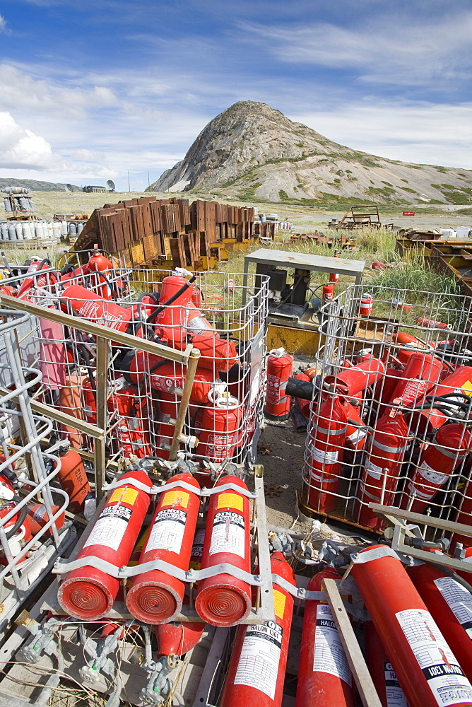 Halon gas cylinders abandoned on a tip at Kangerlussuaq in Greenland, Polar Regions