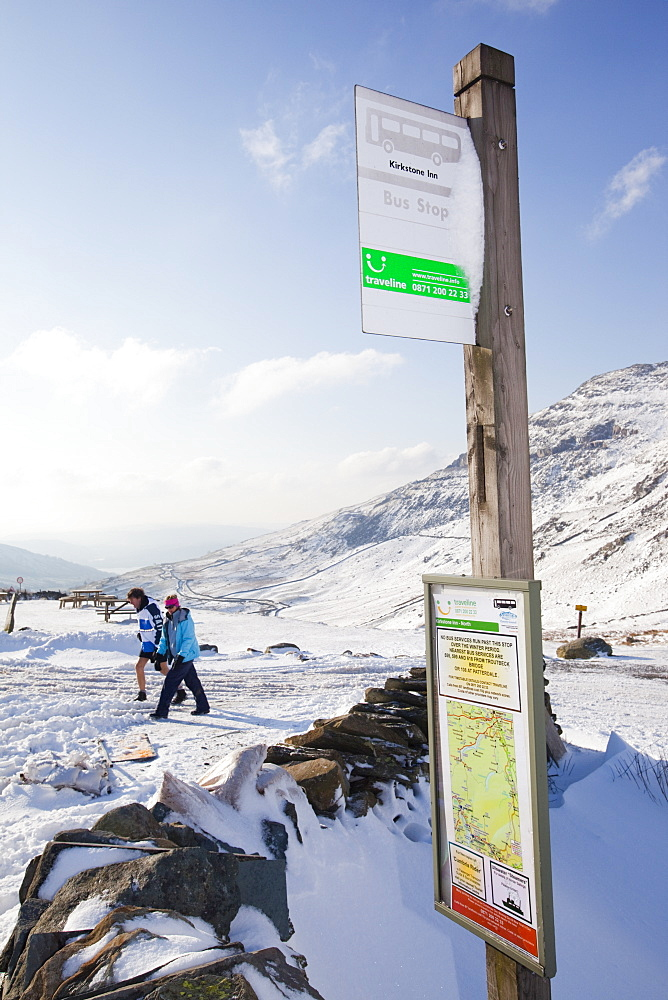 A bus timetable on Kirkstone Pass in the Lake District, Cumbria, England, United Kingdom, Europe