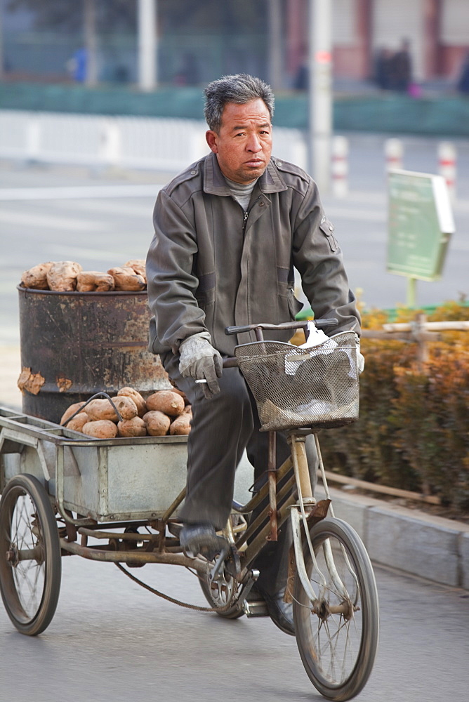 A peasant farmer cycles hius produce to a market in Beijing, China, Asia