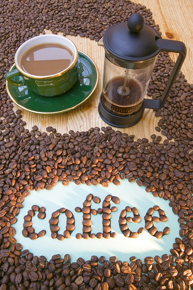 Coffee beans spelling the word coffee