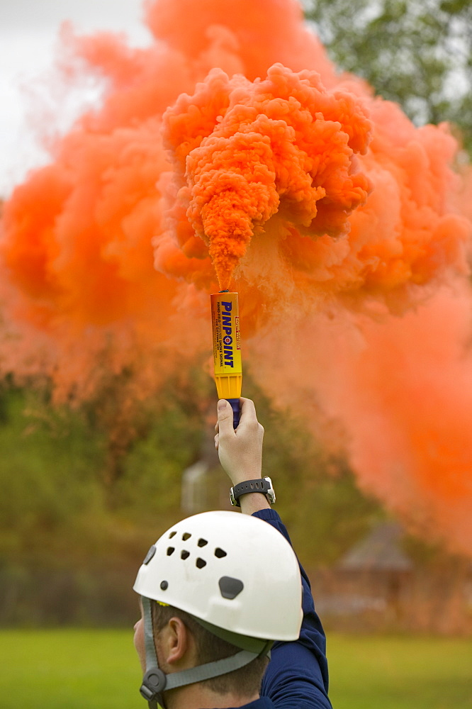 Emergency flare to attract incoming Sea King Helicopter, Lake District, Cumbria, England, United Kingdom, Europe
