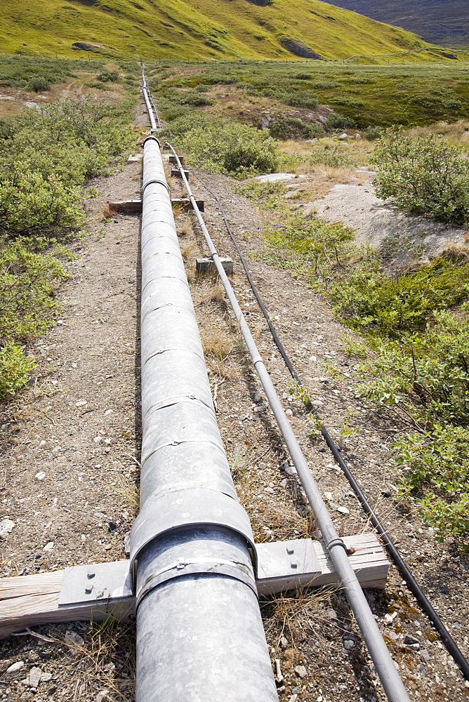 A pipeline across the tundra at Kangerlussuaq in Greenland, Polar Regions