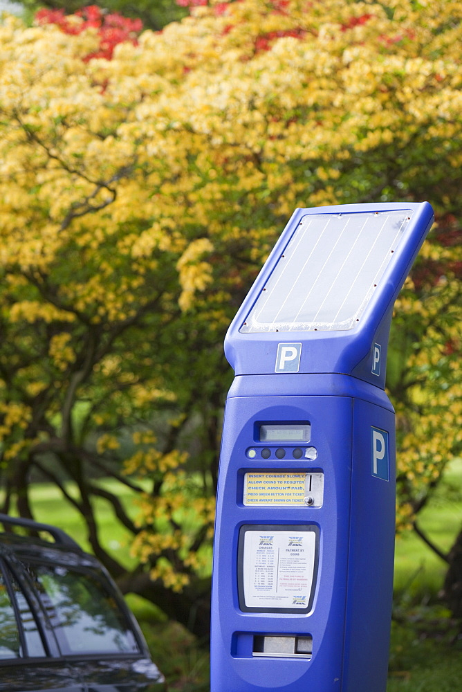 A solar powered parking meter in the Grounds of the University of Cumbria, Ambleside Campus, Cumbria, England, United Kingdom, Europe - 911-4626