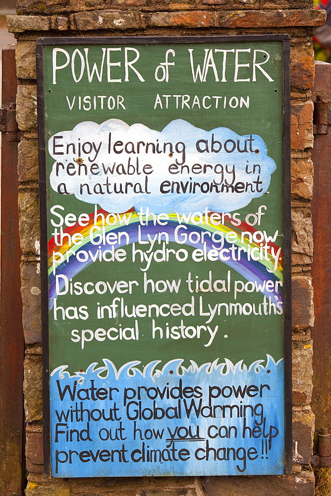 A sign for the water power visitor attraction in the Glen Lyn Gorge, Devon, England, United Kingdom, Europe