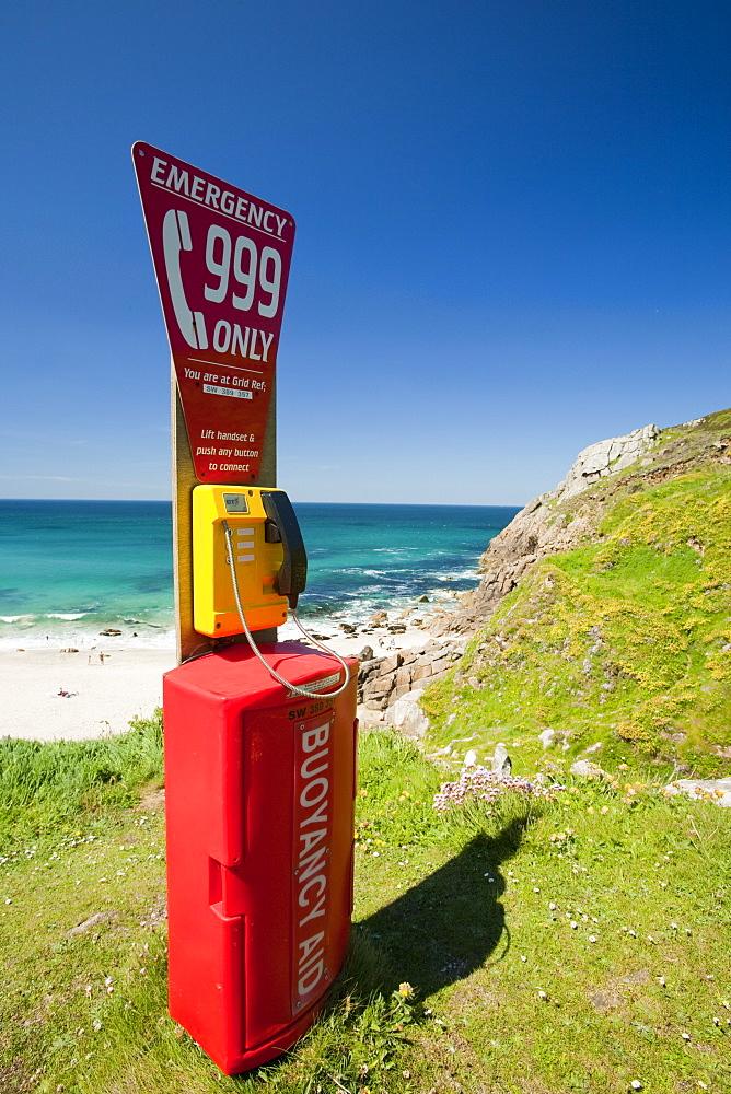An emergency phone above Portheras Cove near St. Just, Cornwall, England, United Kingdom, Europe
