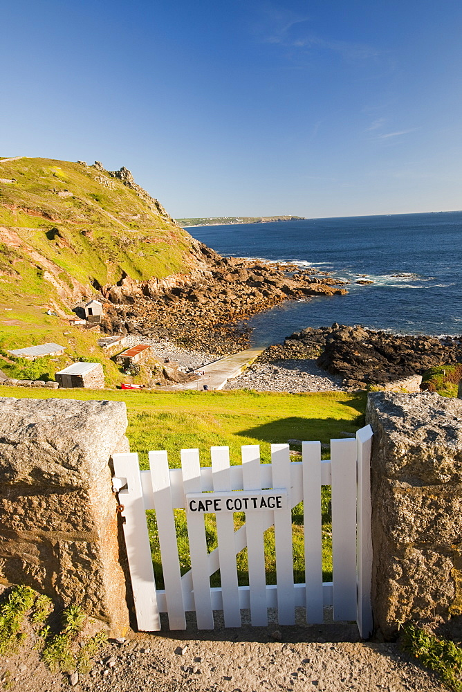 A cottage gate at Cape Cornwall, near St. Just, Cornwall, England, United Kingdom, Europe