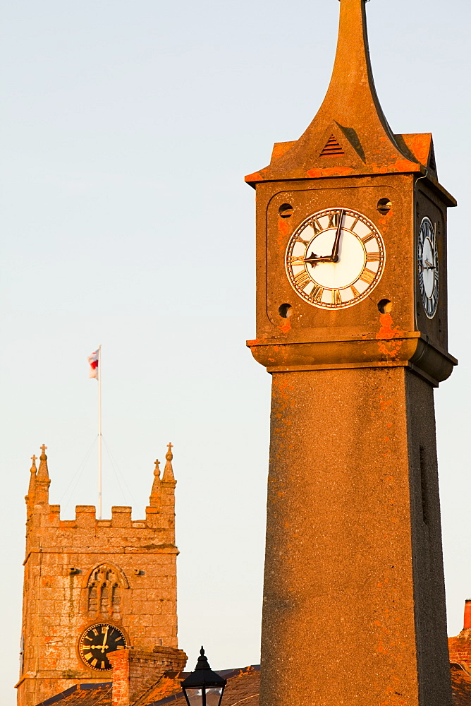A clock tower and church in St. Just, Cornwall, England, United Kingdom, Europe