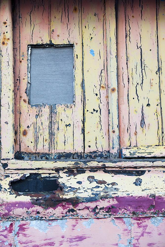 Paint peeling on a door in St. Just, Cornwall, England, United Kingdom, Europe