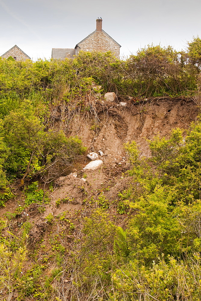 Landslides caused by flash floods near Zennor in Cornwall, England, United Kingdom, Europe