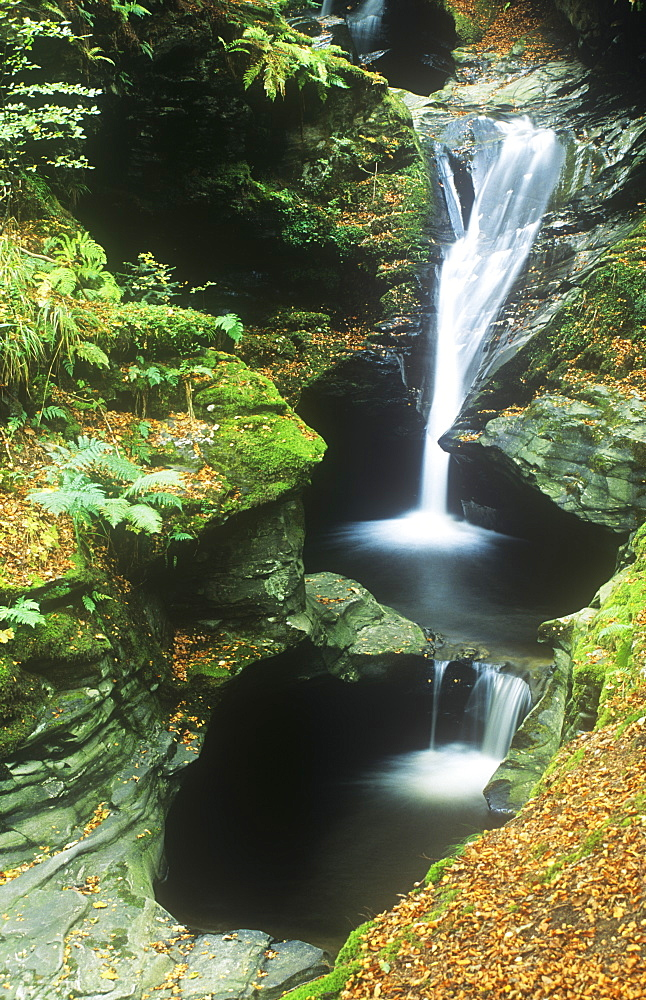 A waterfall on the side of Loch Tay in the Scottish Highlands, Scotland, United Kingdom, Europe