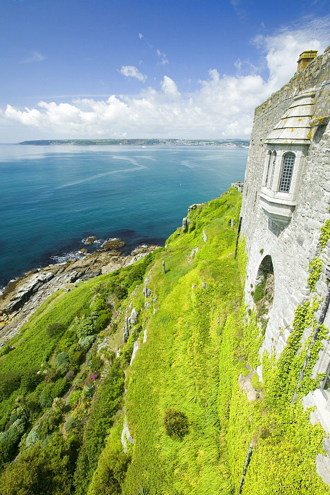 The gardens from the castle on St. Michaels Mount, Marazion, Cornwall, England, United Kingdom, Europe