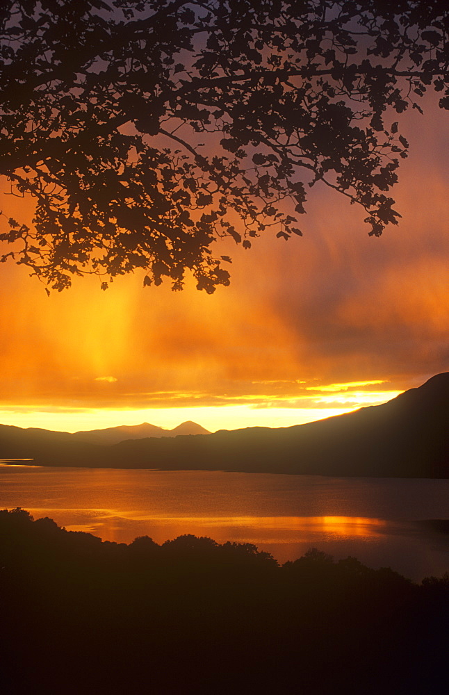 Sunset over Loch Tay in the Scottish Highlands, Scotland, United Kingdom, Europe
