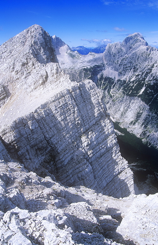 A limestone peak in the Triglav National Park, Slovenia, Europe