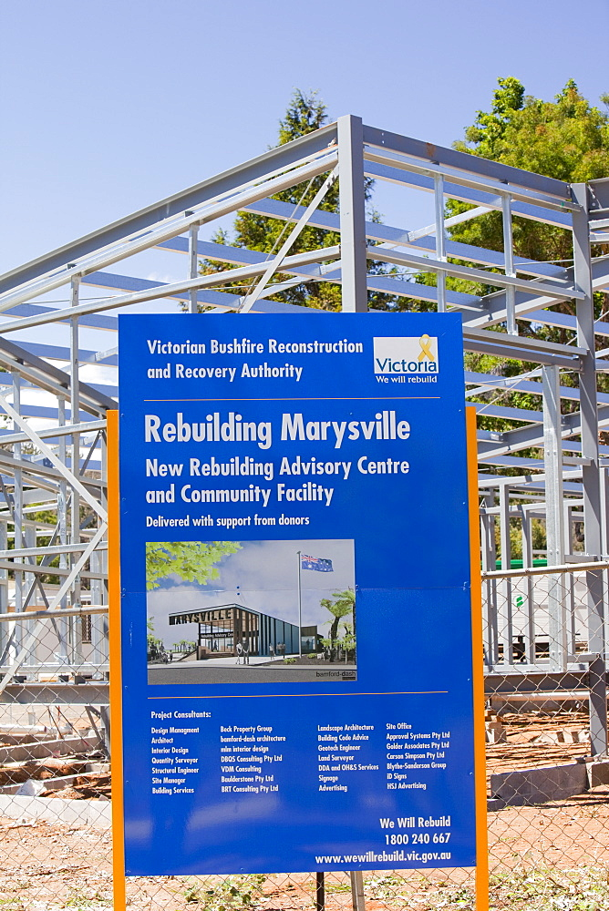 Rebuilding at Marysville, one of the worst affected communities of the catastrophic 2009 Australian Bush Fires in the state of Victoria, Australia, Pacific