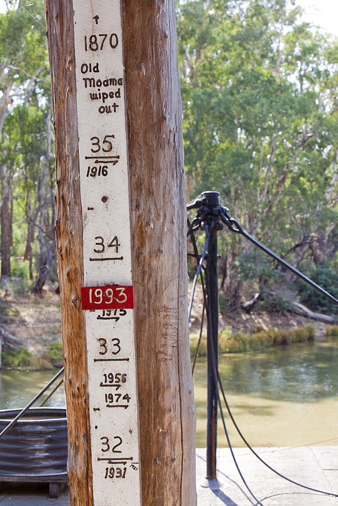 A marker showing flood levels on the Murray River at the port of Echuca, Victoria, Australia, Pacific