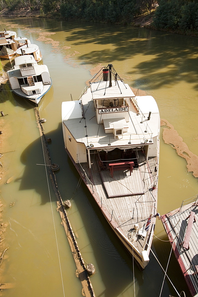 Wooden paddle steamers on the Murray River at Echuca, Victoria, Australia, Pacific