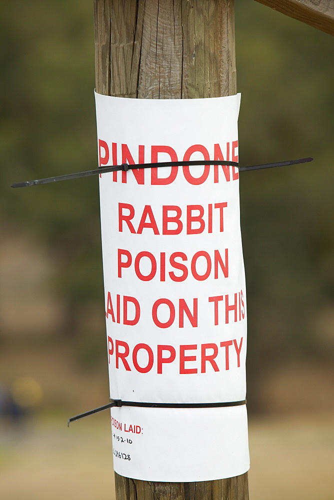 A sign about rabbit poison on a farm near Lake Hume, Australia, Pacific