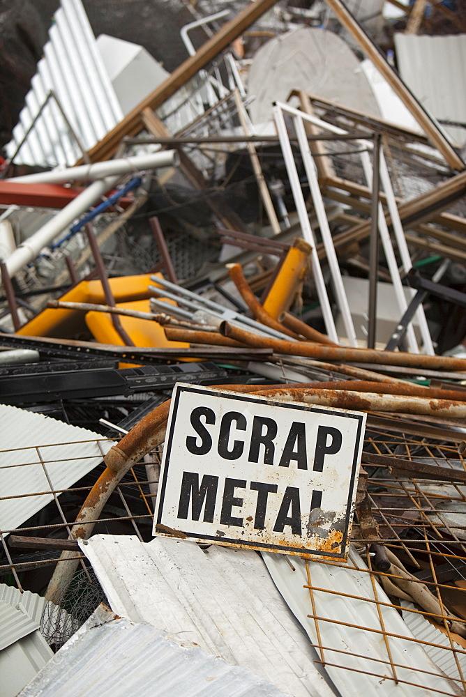 Scrap metal awaiting recycling at Jindabyne rubbish dump in the Snowy Mountains, New South Wales, Australia, Pacific - 911-5930