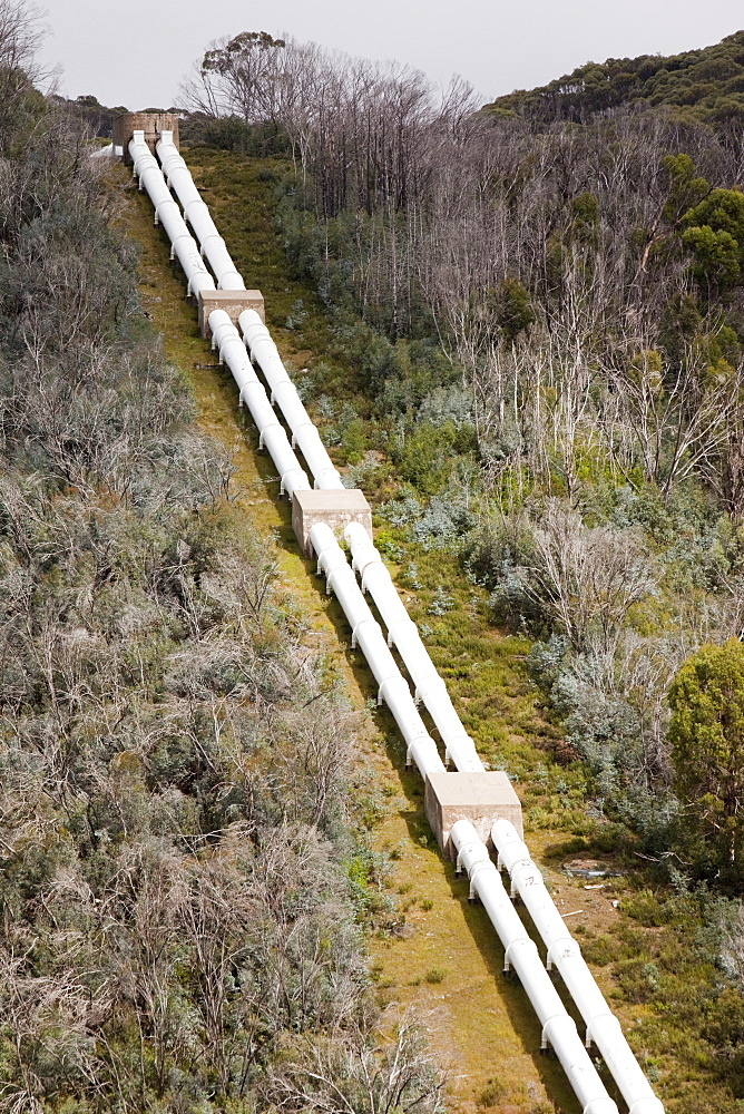 Pipeline taking water to Guthega power station as part of the Snowy mountains hydro scheme, New South Wales, Australia, Pacific