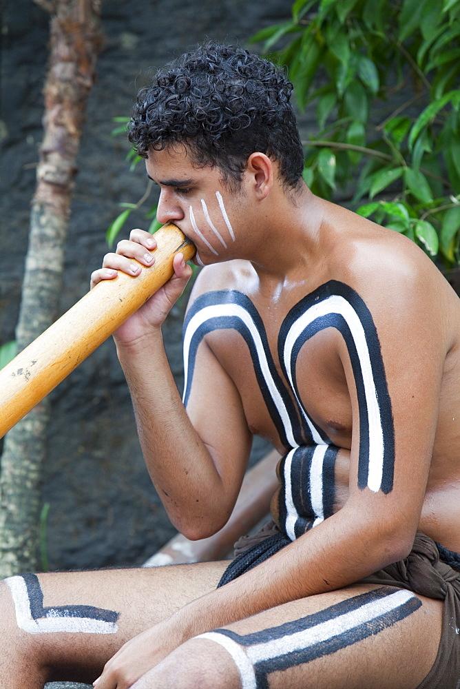 A traditional Aboriginal display at the Tjapukai Aboriginal Park near Cairns, Queensland, Australia, Pacific