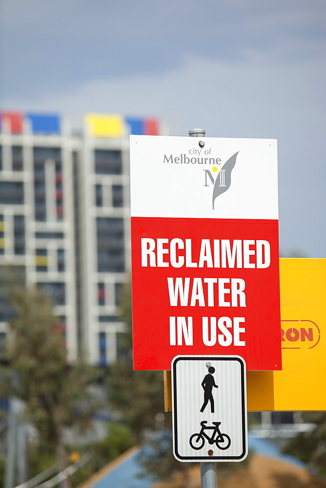Signs in Melbourne about reclaimed water usage, Melbourne, Victoria, Australia, Pacific
